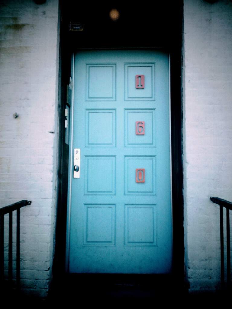 Front door to Anita Cooney's home, hosting the DI board.